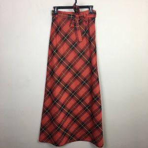 Vintage red tartan plaid maxi skirt with waist tie